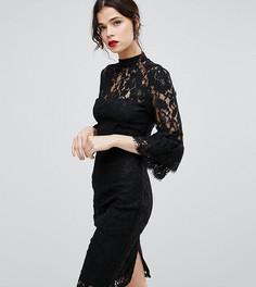 Кружевное платье миди с высоким воротом и двойными оборками на рукавах Paper Dolls Tall - Черный