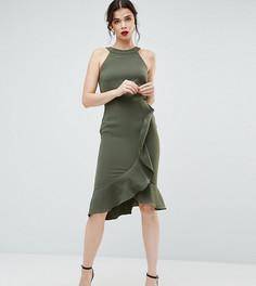 Платье миди с американской проймой и оборкой Paper Dolls Tall - Зеленый