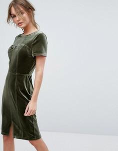 Бархатное платье-футляр с коротким рукавами Paper Dolls - Зеленый