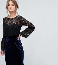 Платье миди 2 в 1 с кружевным топом и бархатной юбкой Paper Dolls - Черный