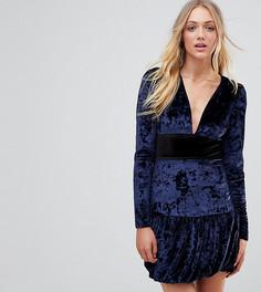 Бархатное платье мини с оборкой Vero Moda Tall - Темно-синий