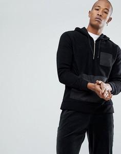 Оверсайз-худи из флиса с молнией и контрастным карманом ASOS - Черный