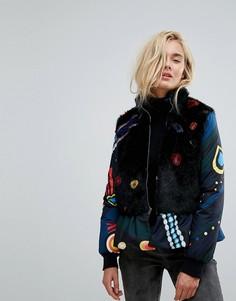 Дутая куртка с воротником из искусственного меха и баской Icerberg - Мульти Iceberg