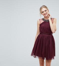 Короткое приталенное платье для выпускного с отделкой Little Mistress Tall - Красный