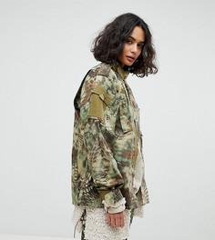 Камуфляжная куртка в стиле милитари с эффектом кожи питона Reclaimed Vintage - Зеленый