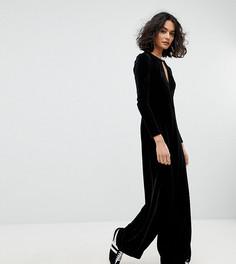 Бархатный комбинезон с широкими штанинами Reclaimed Vintage Inspired - Черный