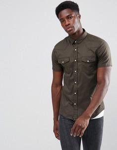 Рубашка с короткими рукавами и двойным карманом Brave Soul - Зеленый