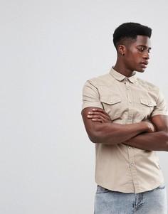 Рубашка с короткими рукавами и двойным карманом Brave Soul - Светло-бежевый