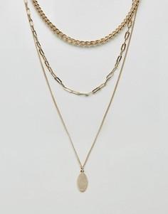 Ожерелье в несколько рядов с цепочками и подвеской ASOS - Золотой