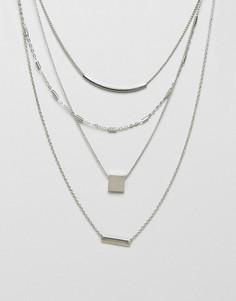 Ярусное ожерелье с цепочками ASOS - Серебряный