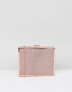 Розово-золотистый блестящий клатч-футляр New Look - Розовый
