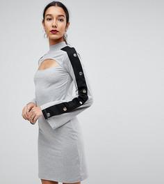 Платье мини с вырезом и кнопками на рукавах ASOS TALL - Серый