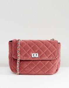 Стеганая сумка с цепочкой Pieces - Розовый