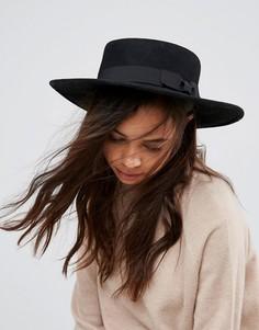 Мягкая фетровая шляпа Pieces - Черный