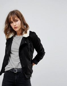 Байкерская куртка из искусственной замши с меховым воротником JDY - Черный