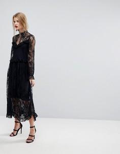 Кружевное платье с оборками Y.A.S - Черный