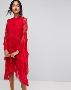 Кружевное платье с ярусной отделкой Y.A.S - Красный