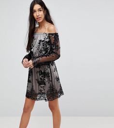 Платье мини с открытыми плечами и отделкой пайетками Kiss The Sky Tall - Черный