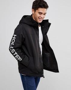 Черная куртка на подкладке из искусственного меха с капюшоном и логотипом Hollister - Черный