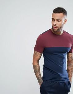 Длинная обтягивающая футболка с контрастной кокеткой ASOS - Темно-синий