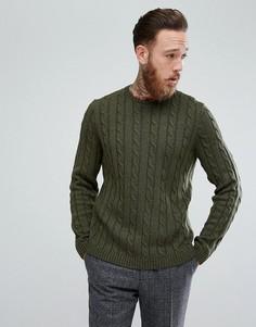 Джемпер цвета хаки с вязкой косичкой ASOS - Зеленый