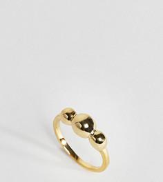 Кольцо из позолоченного серебра с тремя шарами ASOS - Золотой