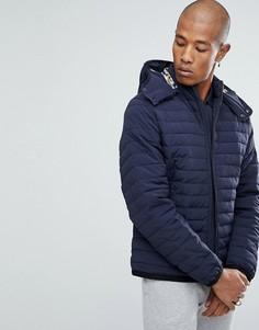 Темно-синяя дутая куртка с капюшоном Aquascutum Emmett - Темно-синий