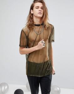 Свободная длинная футболка ASOS - Золотой