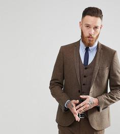 Приталенный пиджак из донегаля Heart & Dagger - Коричневый