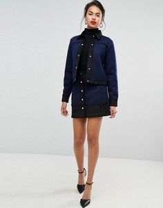 Фактурная юбка-трапеция на пуговицах Morgan - Темно-синий