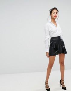 Мини-юбка с асимметричной оборкой Morgan - Черный