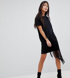 Платье-футболка мини с бахромой ASOS PETITE - Черный