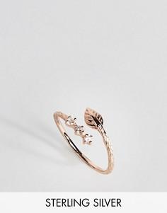 Кольцо на большой палец из позолоченного серебра с листиком ASOS - Медный