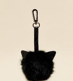 Эксклюзивная черная подвеска-помпон на сумку в форме кошки с блестящей отделкой Skinnydip - Мульти