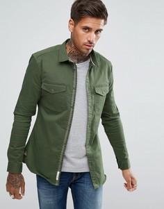 Обтягивающая оксфордская рубашка цвета хаки River Island - Зеленый
