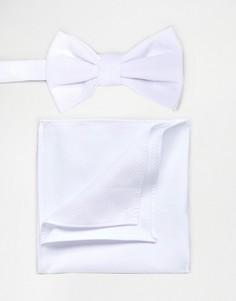 Набор из галстука-бабочки и платка-паше белого цвета ASOS - Белый