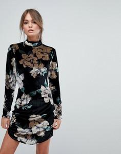 Бархатное платье с высоким воротником и принтом Boohoo - Черный