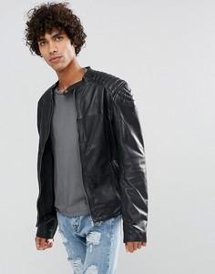 Кожаная байкерская куртка черного цвета Goosecraft - Черный