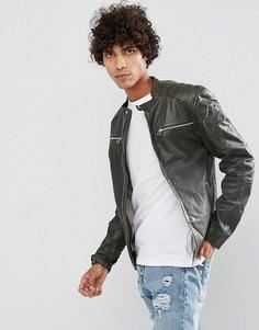 Кожаная байкерская куртка коричневого цвета Goosecraft - Коричневый