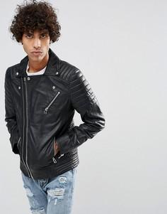 Кожаная байкерская куртка черного цвета с нагрудным карманом Goosecraft - Черный