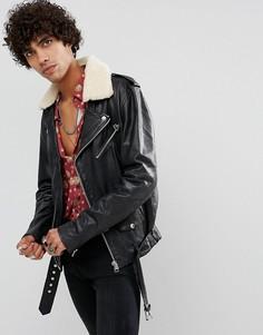 Кожаная байкерская куртка с воротником из искусственного меха Goosecraft - Черный