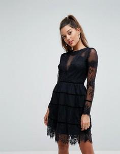 Кружевное платье мини Morgan - Черный