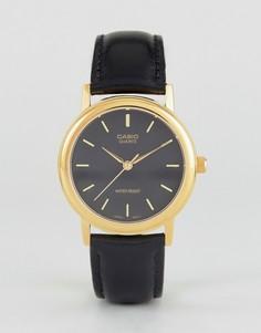 Часы с золотистой отделкой и черным кожаным ремешком Casio MTP1095Q-1A - Черный