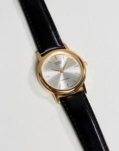 Часы с черным кожаным ремешком Casio MTP1095Q-7A - Черный
