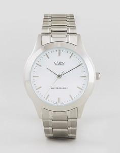 Серебристые часы с браслетом из нержавеющей стали Casio MTP1128A-7A - Серебряный