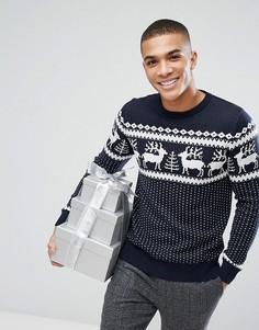 Новогодний джемпер Jack & Jones Premium - Темно-синий