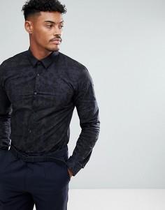 Темно-синяя узкая рубашка с камуфляжным принтом HUGO - Темно-синий