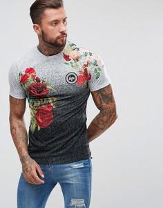 Обтягивающая футболка в крапинку с цветочным принтом Hype - Черный