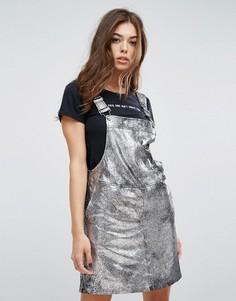 Платье мини с эффектом металлик Blank NYC - Серебряный