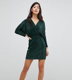 Плиссированное платье с V-образным вырезом и рукавами летучая мышьASOS PETITE - Зеленый